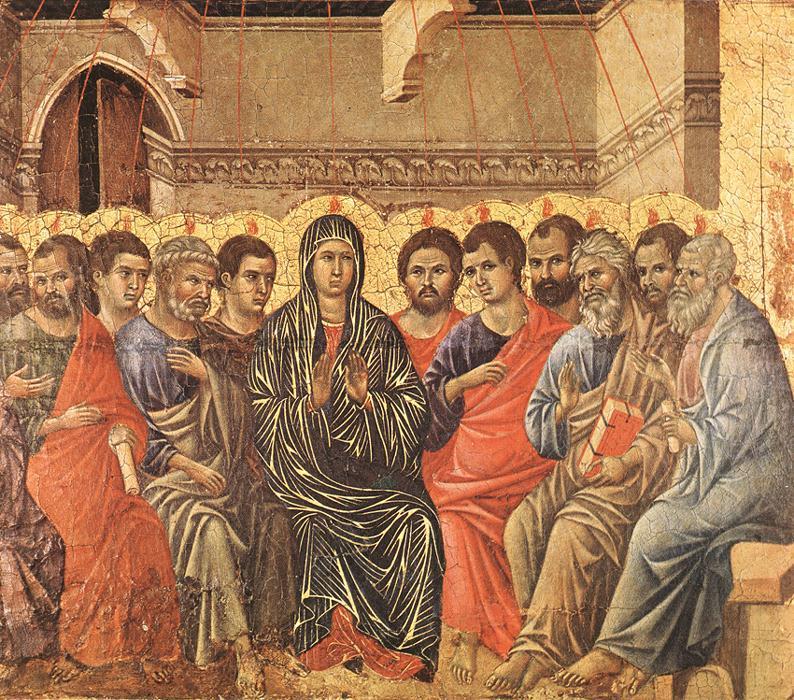 Duccio, Zesłanie Ducha Świętego (fragment retabulum Maestà), 1308-1311