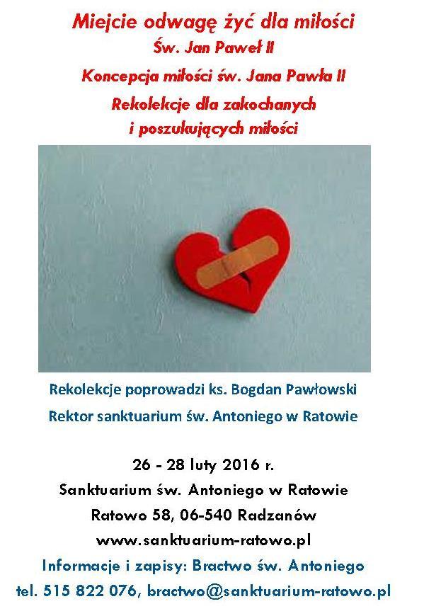 zaproszenie na rekolekcje miłość