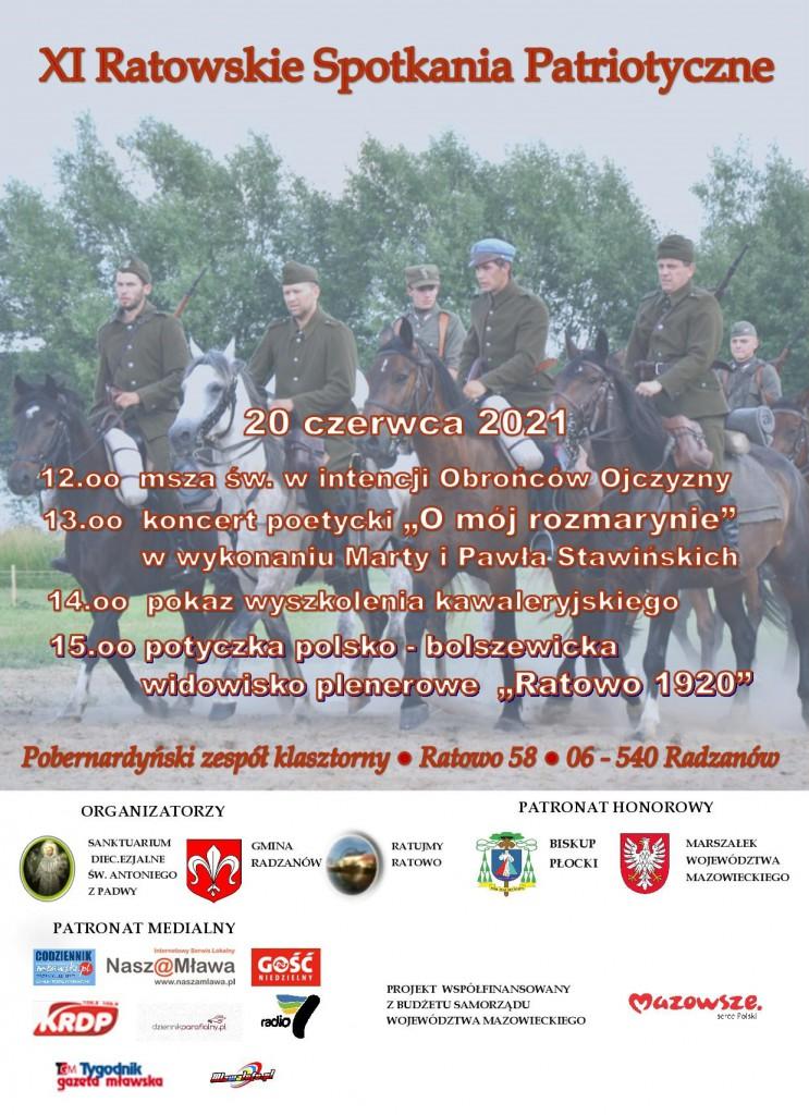 PLAKAT XI RATOWSKIE SPOTKANIA PATRIOTYCZNE 20 06 20211